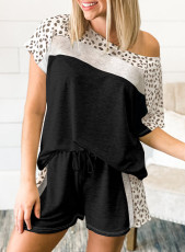 Black Dotted Print Colorblock Tee Shorts Loungewear