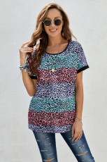 Çok Renkli Leopar Çizgili Colorblock T-shirt