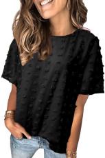 Черный топ с короткими рукавами и текстурой в горошек