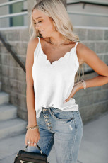 White Scallop Edge Tank Top