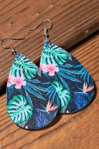 Blå kreative vanddråbe plante øreringe i palme blade