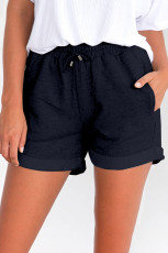 Blue Tie Waist Side Pockets Cuffed Lounge Shorts