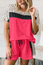 Rose Dotted Print Colorblock Tişört Şort Loungewear