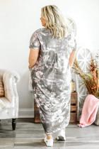 Γκρι γραβάτα εκτύπωσης Plus Μέγεθος Maxi Dress με σχισμές