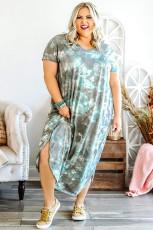Niebieska sukienka maxi z rozcięciami z nadrukiem tie dye