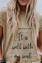 Khaki Letter Print Folded Sleeve T-shirt