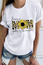 Leopard Sunflower Mom Slogan Letters Graphic Tee