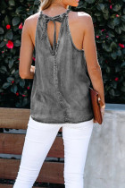 Gem Halter Neck Denim Tank Top