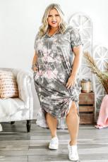 Szara sukienka maxi z rozcięciami, z nadrukiem tie dye