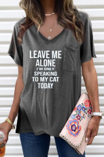 Letters Print Gray V Neck Tee with Slits