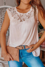 Pink Sleeveless Top with Lace Detail