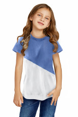 เสื้อยืด Sky Blue Colorblock Splicing Little Girl