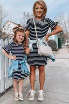 Mini-jurk met gestreept T-shirt voor gezinnen, met mouwen met ruches voor meisjes