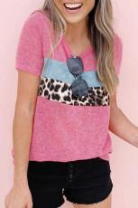 Camiseta de patchwork de leopardo con cuello redondo