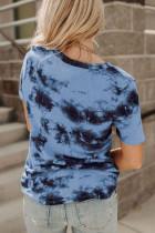 Gök Mavisi Batik V Yaka T-shirt