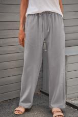 Grijze elastische taillezakken met trekkoord Lange broek met rechte pijpen