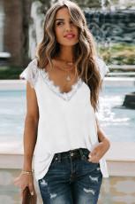 Camiseta sin mangas de punto de encaje blanca