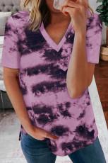 Camiseta morada con cuello en V tie-dye