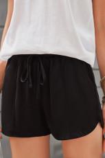 Sort snørebånd Elastisk talje Casual shorts med lommer