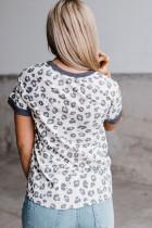 Gri Şeritli Leopar Tişört
