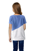 Sky Blue Colorblock Splicing Little Girl Tee