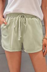 Militærgrøn snor elastisk talje Casual shorts med lommer