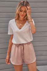 Пыльно-розовые повседневные шорты с карманами и эластичной талией на кулиске