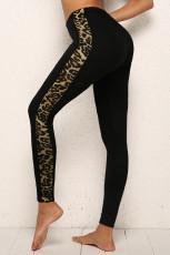 Celana Skinny Melar Pinggang Tengah Black Leopard Splicing