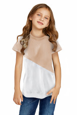 Khaki Colorblock Splicing Little Girl Tee