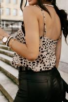 Camiseta sin mangas con tirantes finos y escote en V de crochet con estampado de manchas de albaricoque