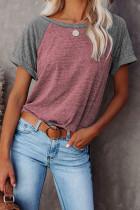 Camiseta con bloques de color de patchwork y mangas raglán