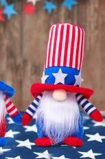 Steagul roșu al SUA Independența Ziua Pentagramei cu dungi Decorație de păpuși pitice