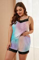 Vícebarevná pyžama velikosti Plus s krajkovým lemem