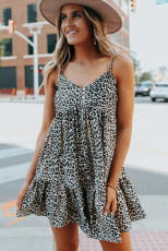 Button Detail Leopard Babydoll Dress