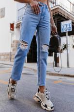 Jeans de perna reta rasgados de cintura alta azul