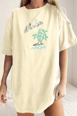 Yellow Aloha By The Beach Oversize Boyfriend Tee