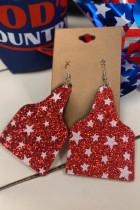 Pendientes con estampado de estrellas de lentejuelas rojas
