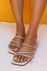 Rhinestoned Straps Square Toe Slip-on Flat Sandals