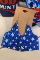 Brincos estampados com estrela de lantejoulas azuis