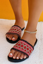 Red Ethnic Style Embroidered Slippers