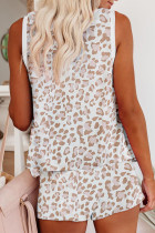 Apricot Leopard Print Tank and Shorts Lounge Set