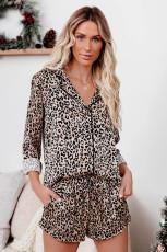Леопардовая рубашка и шорты, пижамный комплект