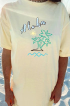 Camiseta Boyfriend extragrande de Aloha By The Beach amarilla