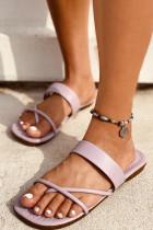 Fioletowe wsuwane sandały ze sztucznej skóry