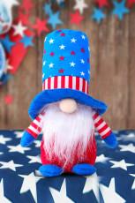 Decoración azul de la muñeca del enano del pentagrama rayado del día de la independencia de la bandera de EE.