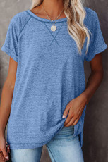 Blue Heathered Round Neck T-shirt