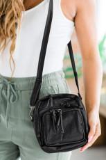 Μαύρη τσάντα Crossbody μεγάλης χωρητικότητας πολλαπλών στρωμάτων Vegan