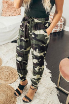 Camouflage Drawstring Elastic Waist Jogger Pants With Pockets