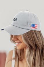 Gray American Flag USA Independence Day National Day Letter Embroidered Cap