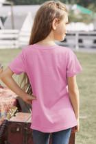 ピンクカラーブロックストライプガールズTシャツ